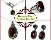 Burgundy Gothic Jewelry Set Dark Red Swarovski Necklace Earrings Ring Oxidized Silver