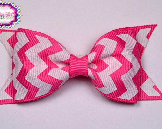 "Hot Pink Chevron Tuxedo Bow  ~ 3.5"" Hairbow ~ Small Hair Bow ~ Girls Barrette ~ Toddler Bow ~ Baby Hair Bow ~ Hair Clip ~ Girls Hair Bow"