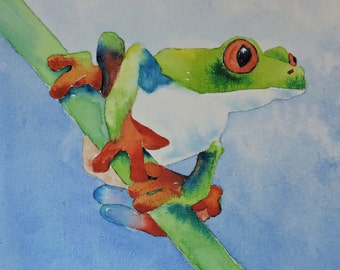 Watercolor Painting of Green and Orange Frog on Canvas Board-Children's Room, Beach House, Lake House