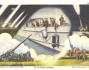 Vintage 1930's -1950's  Linen Postcard U S Coast Artillery USA1 Army Signal Corps
