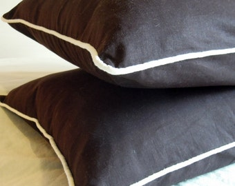 2 Dark Brown Linen Cotton Pillow Covers with Piping, Bedding, Natural