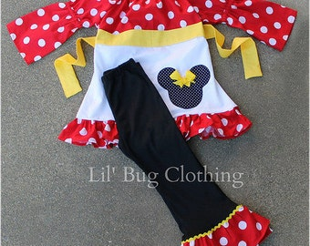 Custom Boutique Red Minnie Mouse Polka Dot Yellow Peasant Pant Set 12m 18 24 2t 3t 4t 5t 6 7  girl