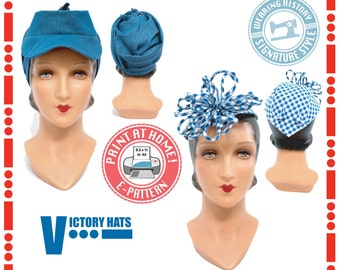 E-Pattern- 1940s WWII Victory Hat Pattern- Wearing History PDF Vintage Sewing Pattern