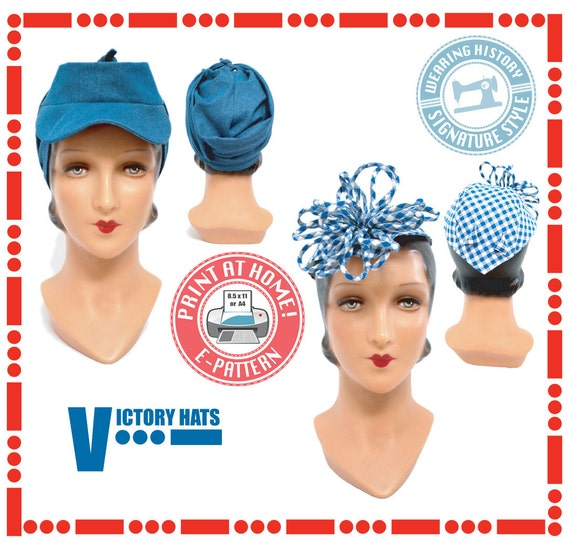 1940s Style Hats 1940s WWII Victory Hat Pattern- Wearing History PDF Vintage Sewing Pattern $12.00 AT vintagedancer.com