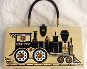 Vintage 1960's Authentic Enid Collins Original Iron Horse Train Designer Box Purse