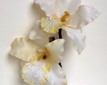 Large White Orchid Hair Clip
