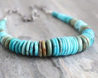 Genuine Multicolored Turquoise Statement Necklace. Blue Green Large Chunky Unique Disc Necklace. Tribal, Native American. Sterling Silver