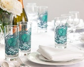 Peacock Feather Glasses - 50 Wedding Favor Glasses - Peacock Feathers, Peacock Wedding Glasses