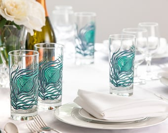Peacock Feather Glasses - 2 Everyday Water Glasses - Peacock Feathers, Peacock Glassware, Peacock Wedding, Peacock Feather Wedding Glasses