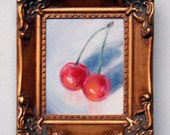 Original, framed miniature oil painting -- SNUGGLING CHERRIES -- 3 inch by 2.5 inch still life, by Diana Moses Botkin