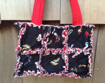 Black shoes rag quilt handbag tote