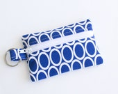 Flash Drive Holder, Small Zipper Pouch, Credit Card Case, Navy Blue Ovals