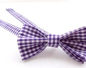 Standard Bow Tie Bowtie - Pretied - Adult - Boys - Baby - Toddler - Formal Casual Wedding - Purple Gingham Checks Plaid Cotton Geek Bows