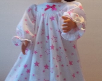 DOLL NIGHTGOWN With Pink Stars - 18 inch Doll Clothes - Fits  American Girl