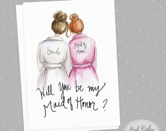 Maid of Honor Brunette Bride and RED Head Maid of Honor, Will You Be My Maid of Honor card PDF printable card