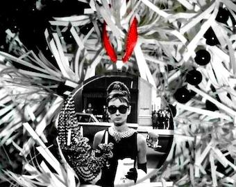 "Audrey Hepburn Breakfast at Tiffanys Window  2.25"" Christmas Tree Ornament"