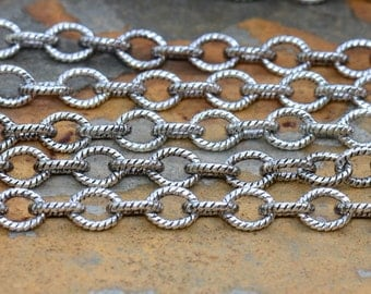 3 ft. Small Textured Cable Chain Antique Silver 5 x 4mm -  Nunn Designs Chain
