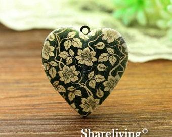 1pcs Vintage Flower Heart Locket Necklace, Antique Bronze Brass Locket, Photo Heart Locket Charm Pendant  - HLK902P