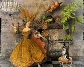 Dance of the Flower Maiden Digital Collage Greeting Card (Suitable for Framing)