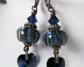 Blue Hearts - Blue Striped Lampwork Glass and Dark Blue Crystals Leverback Earrings