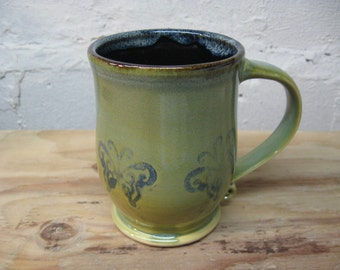Large Sage Green Ceramic Coffee Mug with Butterflies