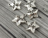 STAR FACE Charms, Antique Silver, Tierracast, Fun Man Face in the Star Charms, Tierra Cast
