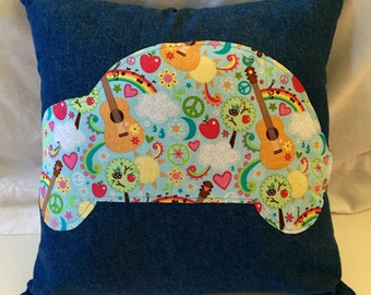 Recycled Blue Jean Pillow Hippie Retro