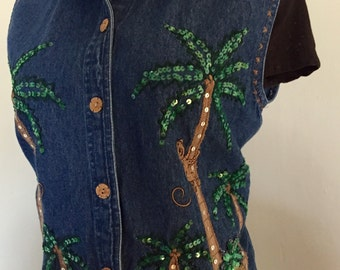 Vintage Embellished Denim Blue Jean Shirt/Jacket/Vest Tropical Print