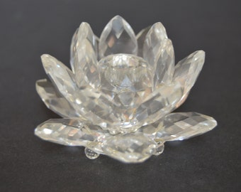Swarovski Waterlily Candleholder - Vintage Clear Crystal Candleholder Holiday Candles Christmas Table Decor Hostess Gift
