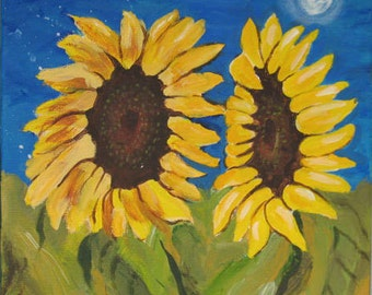 Two Sunflowers One Night Original Painting by Kate Ladd 12 x 12 inches