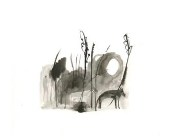 Original Ink Illustration    FOREST WALK