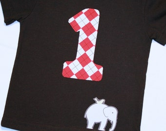 Boys First Birthday Shirt Red Argyle Number 1 and Elephant - 12 month short sleeve black shirt