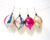 Four Christmas Ornaments - Glass Balls - Glass Teardrops - Mercury Glass - Made in Poland - Set of Four