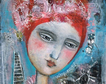 Mixed Media Painting  Print  Modern Folk Quirky Daydream