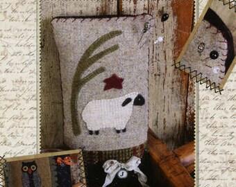 Primitive Folk Art Wool Applique Pinkeep Pattern - Buttermilk Basin  - Year of Pinkeeps - JULY SHEEP
