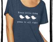 Three Little Birds Dolman Tee Loose Slouchy Heathered tshirt shirt