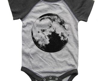 Full MOON BABY Bodysuit Raglan one piece shirt creeper Baseball jersey screenprint
