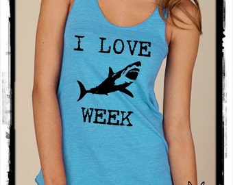 I LOVE SHARK week Girls Ladies Heathered Tank Top Shirt screenprint Alternative Apparel