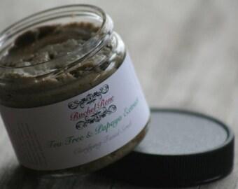 Tea Tree and Papaya Clarifying FACIAL SCRUB All-Natural With Kaolin Clay, Grapeseed Oil, Papaya and Green Tea