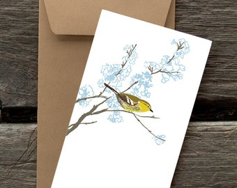 BF5: Warbler in a Flowering Tree - 8 Blank flat cards and envelopes