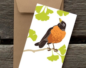 Robin in Gingko Tree-- 8 Blank flat cards and envelopes