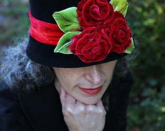Black Felt Hat - Red Silk Velvet Roses - One of a Kind -  size 22.5""