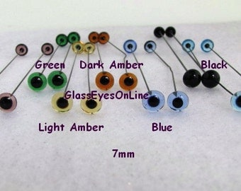 14 PAIR 2mm or 3mm or 4mm or 5mm or 6mm or 7mm or 8mm German Glass Eyes on wire for teddy bears, dolls, sculpture, needlefelting (201)