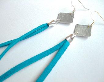 Aluminum Leather Tassel Fringe Earrings in Peacock Blue - Medium Length