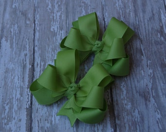 """Girls Hair Bows Lemongrass Green Boutique 3"""" Double Layer Hairbows Set of 2 Pigtail Bows"""