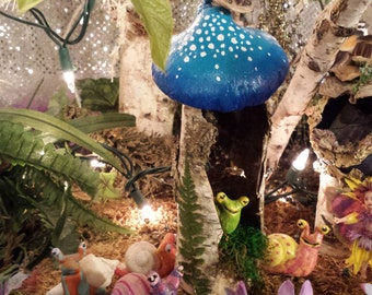 Little Blue Mushroom Hut Fairy House Made out of Birch Bark Great for Holiday Gift