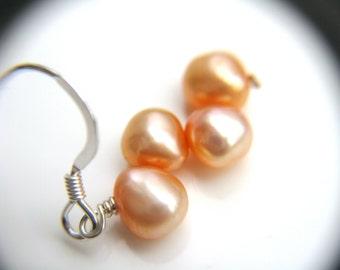 Peach Bridesmaid Earrings . Peach Wedding Jewelry . Silver Pearl Earrings . Peach Earrings . Freshwater Pearl Earrings - Hargrove Collection