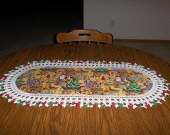 Crocheted Christmas Table Runner Santas Work Shop 16 x 36 Fabric Center Crocheted Edging
