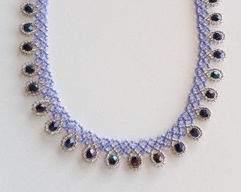 Handmade purple and blue dressy teardrop beaded choker necklace