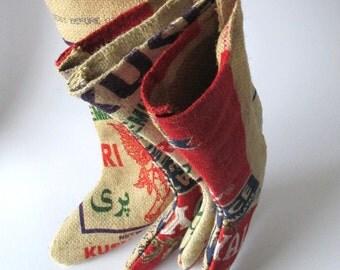 Rustic Home Decor - Basmati Rice Bag Christmas Stocking